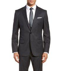men's big & tall boss hayes cyl slim fit solid wool sport coat, size 50 regular - grey