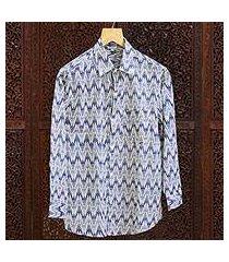 men's cotton long sleeve shirt 'ikat stories' (india)