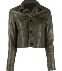 ami paris patch pockets leather jacket - green