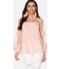 blusa de manga larga de malla con cuello redondo y encaje rosa