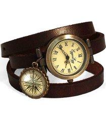 skórzany zegarek bransoletka kompas - 0145
