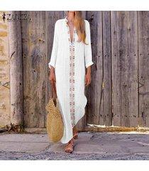 zanzea boho floral holiday beach party kaftan sundress ladies camisa larga vestidos -blanco