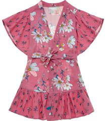 vestido manga corta fucsia  offcorss