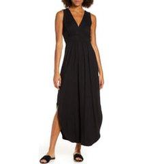 fraiche by j v-neck jersey dress, size large in black at nordstrom