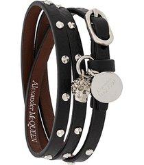 alexander mcqueen studded multi-wrap bracelet - black