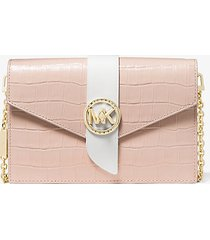 mk borsa a tracolla convertibile media in pelle stampa coccodrillo bicolore - rosa tenue cangiante (rosa) - michael kors