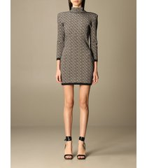 balmain top balmain mini dress with all over monogram