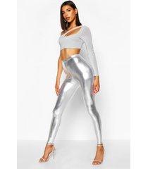 metallic leggings, zilver