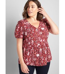lane bryant women's shirred peplum top - floral 12 bethany scarf