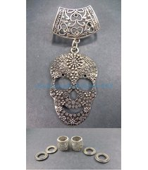 us seller-sugar skull pendant slider scarf ring fashion and jewelry