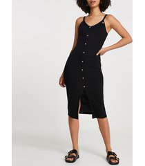 river island womens black ribbed button front midi dress