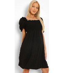 zwangerschap geplooide gesmokte jurk met franjes, black
