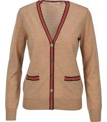 tory burch contrast trim cardigan