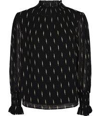 blouse met bliksemschicht print miley  zwart