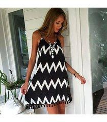 vestido de la correa de espagueti de borla impresa/vestido de playa