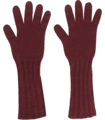 pringle of scotland ribbed long gloves - red