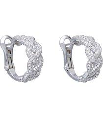 orecchini a cerchio in argento con pavé di zirconi intrecciato per donna