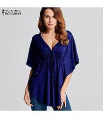 zanzea 2018 mujeres del verano blusas camisas con cuello en v manga del batwing de las señoras de gran tamaño tes de las tapas flojas ocasionales blusas femininas más el tamaño azul -azul