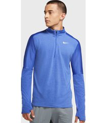 camiseta manga larga nike m nk df elmnt top hz azul - calce regular