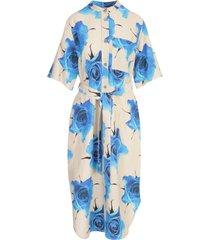 3/4s dress w/flowers printing belt
