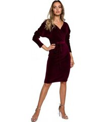 korte jurk moe m561 fluwelen wrap top jurk - kastanjebruin