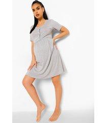 zwangerschap gesmokte borstvoeding nachtjapon, grey marl