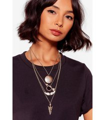 womens on the straight and arrow layered necklace - gold
