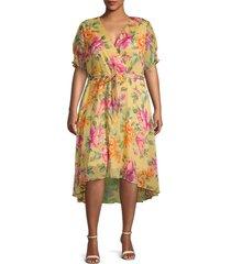 emma & michele women's plus floral high-low wrap dress - yellow multicolor - size 18w