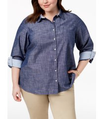tommy hilfiger plus size cotton chambray roll-sleeve shirt, created for macy's