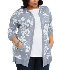 belldini plus size open-front floral-print jacquard hooded cardigan