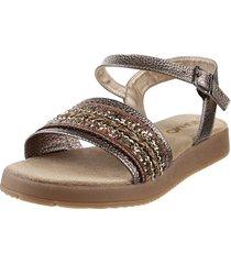 sandalia de cuero marrón viamo lenita