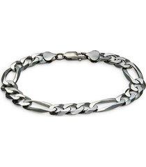 effy men's black rhodium-plated sterling silver figaro chain bracelet