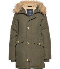 miss smith jacket gevoerde lange jas groen svea