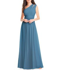 women's #levkoff one-shoulder chiffon a-line gown