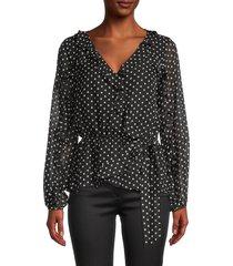 calvin klein women's polka dots top - black multi - size xs