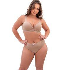conjunto lingerie sigh plus size reforã§ado chocolate - bege - feminino - dafiti