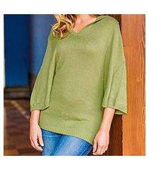 alpaca blend hooded pullover, 'green trujillo lady' (peru)