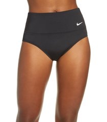 women's nike essential high waist bikini bottoms, size small - black