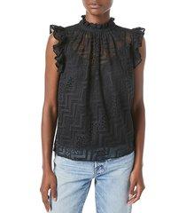 frame women's lace ruffle top - noir - size l