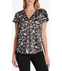 tahari asl floral v-neck blouse