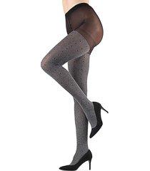 memoi women's static pindot opaque tights - grey - size s (4-6)/m (8-10)