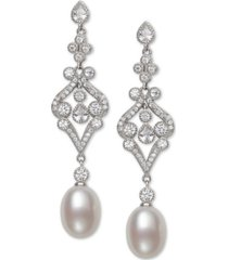 belle de mer cultured freshwater pearl (8-9mm) & cubic zirconia drop earrings in sterling silver, created for macy's