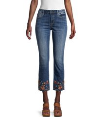 driftwood women's colette floral-embroidered cropped jeans - dark wash - size 24 (0)