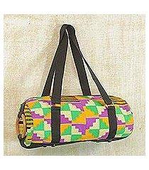 cotton kente shoulder bag, 'ashanti labyrinth' (ghana)
