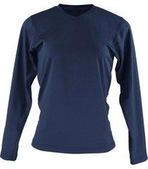 blusa térmica feminina segunda pele gola v thermo premium original slim fit - azul marinho - kanui