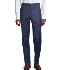 lauren ralph lauren men's solid flat-front trousers - blue - size 42 32