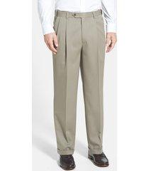 men's berle self sizer waist pleated classic fit wool gabardine dress pants, size 40 x unhemmed - beige