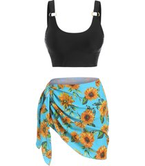 sunflower print o ring three piece tankini swimwear