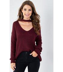 burgundy choker neck long sleeves jumper