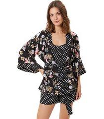 kimono corpo e arte hanoi preto, branco e rosa. - preto - feminino - viscose - dafiti